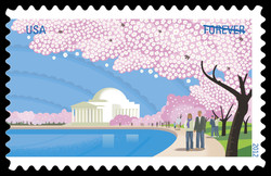 Cherry Blossoms With Jefferson Memorial United States Postage Stamp   Cherry Blossom Centennial