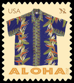 Blue Bird of Paradise Aloha Shirt United States Postage Stamp | Aloha Shirts