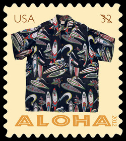 Black Surfers Aloha Shirt United States Postage Stamp | Aloha Shirts
