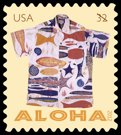 White Fossil Fish, Shells, and Sea Stars Aloha Shirt United States Postage Stamp | Aloha Shirts