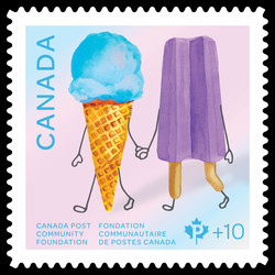 Blue Ice Cream Cone and Purple Popsicle Canada Postage Stamp | Canada Post Community Foundation - Frozen Treats