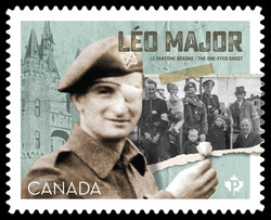 Private Leo Major - The One-eyed Ghost Canada Postage Stamp | Victory in Europe Day