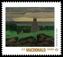 J.E.H. MacDonald - Church by the Sea (1924) Canada Postage Stamp | Group of Seven