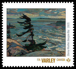 F.H. Varley - Stormy Weather, Georgian Bay (1921) Canada Postage Stamp | Group of Seven
