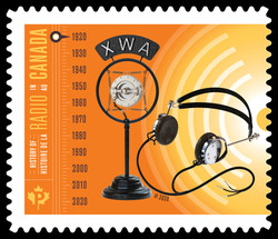 XWA Microphone and Headphones Canada Postage Stamp | History of Radio in Canada