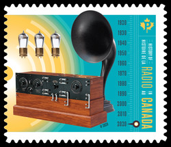 Lightbulbs, Radio, and Speaker Canada Postage Stamp | History of Radio in Canada