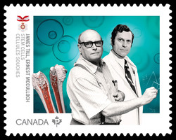 Dr. James Till and Dr. Ernest McCulloch - Stem Cells Canada Postage Stamp | Medical Groundbreakers