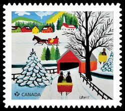 Winter Sleigh Ride - Maud Lewis Canada Postage Stamp | Christmas 2020