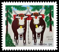Team of Oxen in Winter - Maud Lewis Canada Postage Stamp | Christmas 2020
