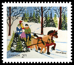 Family and Sled - Maud Lewis Canada Postage Stamp | Christmas 2020